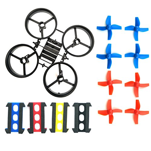 Preisvergleich Produktbild WOSKY RC Micro Quadcopter Frame Black and 8pcs 4-leaf Propellers Blue for H36 E010 Tiny Whoop FPV Drone Parts