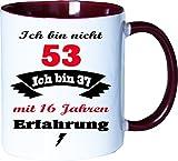 Mister Merchandise Becher Tasse Ich Bin Nicht 53 Ich Bin … mit Jahren Erfahrung Kaffee Kaffeetasse liebevoll Bedruckt Jahre Geburtstag Alter jünger fühlen Weiß-Bordeaux