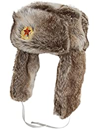 Mens Russian Style Faux Fur Trapper With Removable Badge (A790) (59cm)