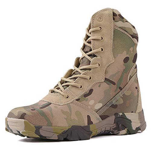 NDHSH Militärstiefel für Herren High-Top-Schuhe Wanderschuhe Schuhe mit seitlichem Reißverschluss Desert Combat-Stiefel Camo-Schuhe All-Terrain-Campingstiefel,Camo-39 Terrain Stiefel