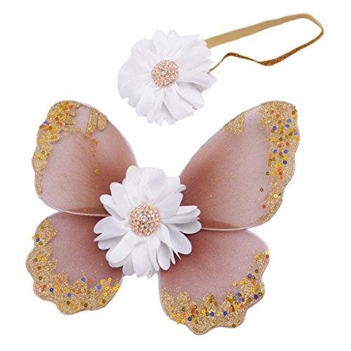 Baby-Foto Requisiten Neugeborene baby fotoshooting Fotografie Kostüm Blumen Stirnband Butterfly Wings - Khaki, one ()
