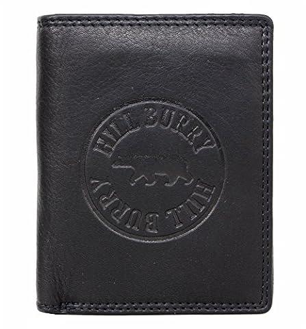 Hill Burry Herren Echt-Leder Geldbörse Portemonnaie Brieftasche Portmonee Geldbeutel Kredit-Kartenetui Wallet Vintage Organizer Reisebrieftasche aus hochwertigem Leder Hochformat schwarz 6401Ss