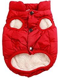Joydaog Gilet coupe-vent Manteau pour chien 2couches avec doublure polaire super chaud pour l'hiver par temps froid, Extra Doux Chiot chien, Rouge