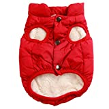 2 Layers Fleece Lined Super Warm Dog Jacket for Winter Cold Weather,Extra Soft Puppy Vest Windproof Doggie Coat by JoyDaog,Red L
