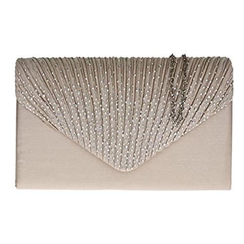 Girly HandBags Pleated Satin Clutch Bag Diamante Shoulder Chain Elegant  Prom Wedding Evening -- Champagne