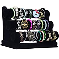 Bracelet Holder - 3 Tier Size 31x18x26cm (LxBxH) Velvet Jewellery Display Rack Organiser with Removable Bars - Jewelry Storage Stand For Your Bangles, Bracelets and Watches (Black)