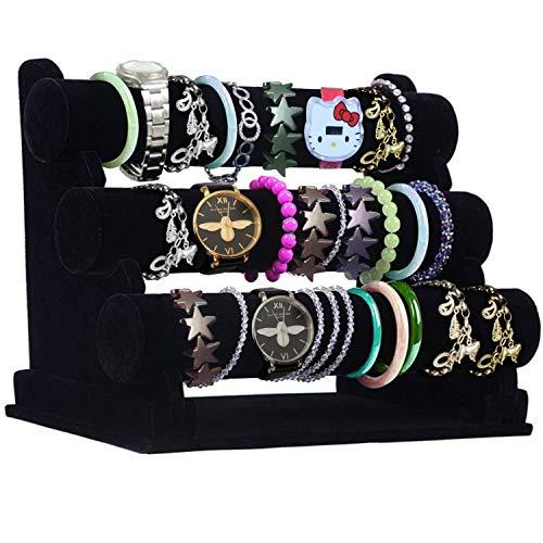 Présentoir à Bracelets - 3 Niveaux 31x18x26cm (LxlxH) Porte Bracelet en Velours avec Barres Amovibles - Support Rangement à Bijoux pour vos Bracelets et Montres (Noir)