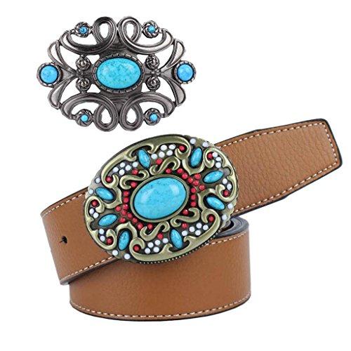 Gazechimp Bohemia Cinturón De Cuero De La PU Brown Cowboy Cinturón Hebilla Classic
