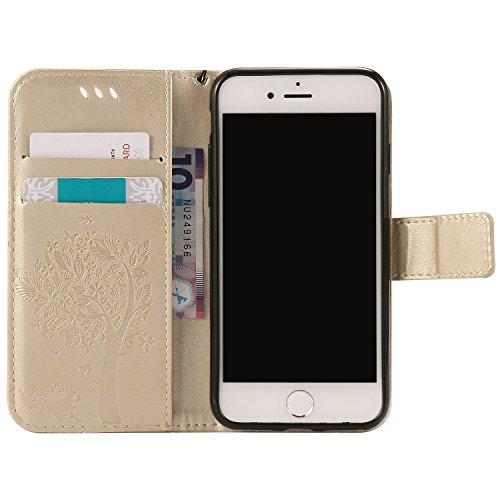 """Coque Apple iPhone 7, SsHhUu Etui Portefeuille en Cuir PU Véritable Coque Protection à Fermeture Magnétique Stand avec Stylet + Lanyard pour Apple iPhone 7 / iPhone 8 (4.7"""") Rouge Or"""