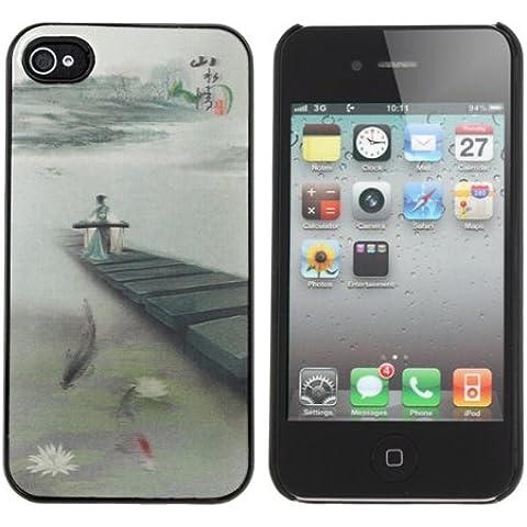 Efecto 3D Ancient Caso Clásica Pintura Patrón chino para el iPhone 4.