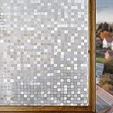 Housolution Refraction Fensterfolien, No-Kleber statische Dekor Privatsphäre PVC Fensterfolien Non-Klebstoff Mattglas Aufkleber Heat Control Anti-UV-Schutzhülle f Mosaik (79 x 18 IN)