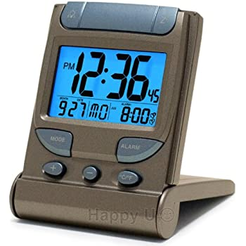 Digital Travel Alarm Clock With El Backlight Dual Time