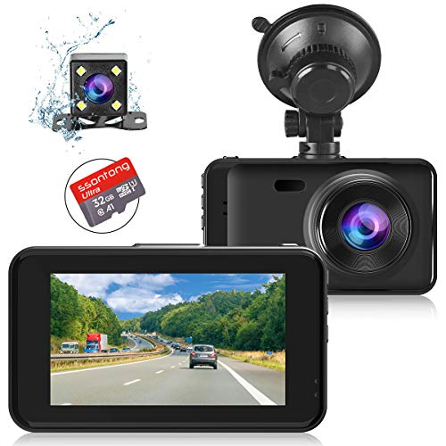 "Dashcams for Cars Front and Rear Dual Dash Cameras FHD 1080P Dash Cam Night Vision【SD CARD INCLUDED】3.0""IPS Display, Driving Recorder with G-sensor, Parking Monitor, Loop Recording, Motion Detection"
