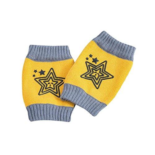 Baby Knieschützer,bobo4818 Baby Knieschützer mit Gummi Fünf Sterne Anti-Rutsch knieschoner krabbeln (Yellow)