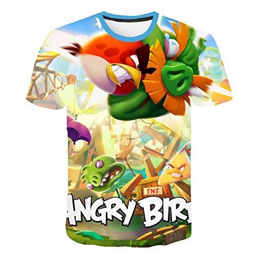 Fowii T-Shirts Herren Damen Ms Neutraler 3D-Druck Tops Kurzärmeliger Rundhalsausschnitt Cool Und Bequemer Baumwolle Locker Polos Angry Bird L