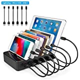 TechDot Handy USB Ladestation Ladestation Mehrere Geräte 6 Port USB Multi Ladestation für Apple iPhone iPad und Android Smartphones (2 Micro USB Kabel, 2 Lightning Kabel und 2 USB C Kabel, Schwarz)