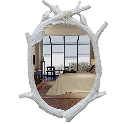 Européenne- Miroir Miroir de salle de bains exotiques Murale rétro miroir Entrée Dressing Toilettes antiques américain Décoration Beauté Lavage étanche Miroir Bienvenue ( Couleur : feuilles vert pâle , taille : 60cm*85cm )