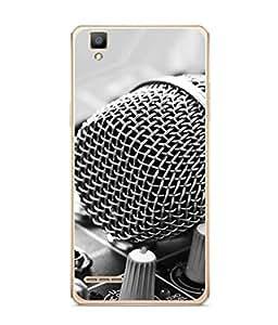 PrintVisa Designer Back Case Cover for Oppo F1 (front view of musical mike)