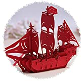 3D Karten Grusskarte Schiff, 3D Pop Up Karte, Glatte Segeln, Reise Geburtstagskarten, Handgemachter Origami 3D Pop-up-Karte, für Geburtstagskarte Valentinstag Karte Vatertag Karte - Yves25Tate