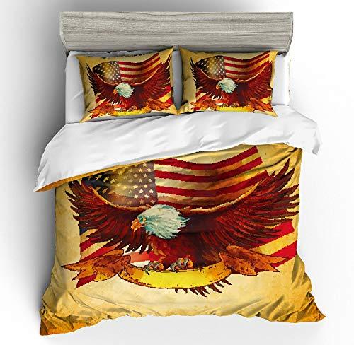 JSDJSUIT Bettwäsche-Set MUSOLEI 3D Bettwäscheset Eagle Ring springt auf die Flagge USA Karte US Karte Bettlaken Twin Queen King, EU Double 3tlg (Usa Die Karte Von)