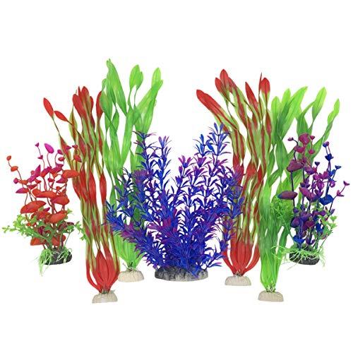 SLOME Aquarium-Pflanzen aus Kunststoff - künstliche Wasserpflanzen für große künstliche Aquarien, Dekoration und Zubehör, Blau, 7 Stück