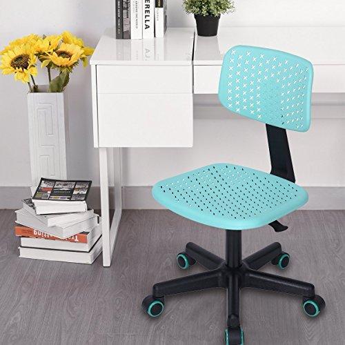 Aingoo Children Desk Chair Armless Adjustable Swivel Computer Task Chair for Kids Study,Turquoise,48 X 57 X 89-99CM