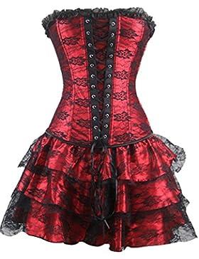 Burvogue Mujer Gótico Steampunk corsés y Bustiers vestido