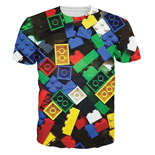 uideazone Unisex 3D-Druck Lustige Herren Kurzarm T-Shirts Bunt UK S-L Style-7