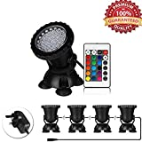 Lychee Set of 4 36 LEDs IP68 Waterproof Underwater Spot lights,Remote Control Amphibious Change color Submersible Lights for Garden Pond Aquarium Courtyard Swimming Pool Fountain Fish Tank (UK Plug)