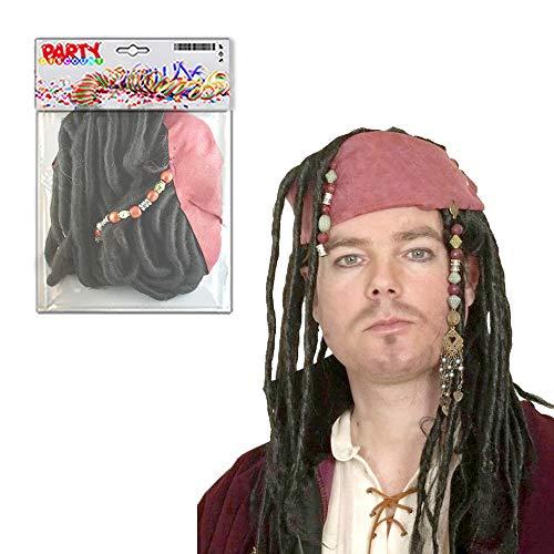 Jack Sparrow Stirnband Mit Haar - WOOOOZY Party Discount ® Perücke Pirat