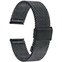 Para 36mm Daniel Wellington Banda, TRUMiRR 18mm Correa de reloj Milanese banda de acero inoxidable reloj para Huawei Watch 2015, Huawei Fit, Withings Activite/Pop/Sapphire/Steel/Steel HR 36mm, Asus Zenwatch 2 Women 1.45'' WI502Q, Fossil Q Tailor/Gen 3 Q Venture, LG Watch Style