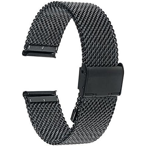 TRUMiRR 20mm Correa de reloj Milanese banda de acero inoxidable para Samsung S2 engranaje clásico (SM-R732 / R735), Moto 2 360 hombres 42mm 2015, 20 mm Tiempo de Pebble Ronda