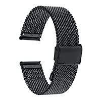 TRUMiRR 22mm Watch Strap Milanese Stainless Steel Band for Samsung Gear 2 R380 Neo R381 Live R382,Moto 360 2 46mm,Pebble Time / Steel,Asus ZenWatch 1 2 Men,LG G Watch Urbane W150,Black
