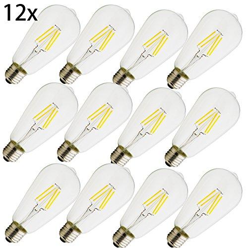 E27 LED, ST64 ,Energiesparlampen,umweltfreundlich,4 W Lampe , vergleiche 30 W Glühlampe ,360 Lumen,AC 220V, warmweiß ST64, Lampe Kristallklares Glas,12 Stück