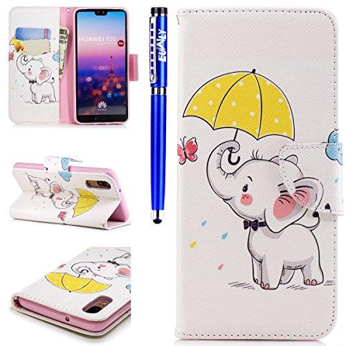 EUWLY Lederhülle Huawei P20 Ledertasche Handytasche Tasche Wallet Hülle im Bookstyle Handyhülle Bunte PU Leder Flip Tasche Case Brieftasche Schutzhülle Kartenfächer,Weiß Elefant
