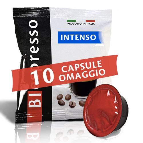 Biespresso 200 capsule compatibili lavazza a modo mio - 10 capsule in omaggio - miscela intenso - marchio peso 3,5 kg - caffè prodotto in italy