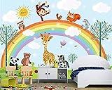 sshssh 2019 sur Mesure Photo Papier Peint Maternelle Bande Dessinée Girafe Animaux Arc en Ciel Enfant Chambre Fond Mur 3D Papier Peint Behang Tapisserie Photo 3D-208x146CM