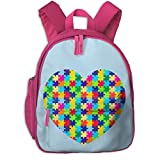 ADGBag Kinder Rucksack Children's Backpacks Autism Puzzle Heart School Bagpack for 2-9 Years Old Pink
