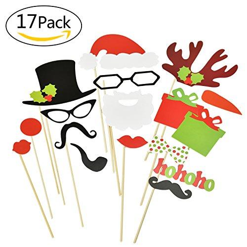 Fotorequisiten,17 Stück, Weihnachts-Foto Requisiten, Foto Booth für lustige Bilder, Foto Booth Requisiten, Foto-Zubehör, Neujahr, Weihnachten, Party und Selfies (Weihnachts-requisiten Für Fotos)