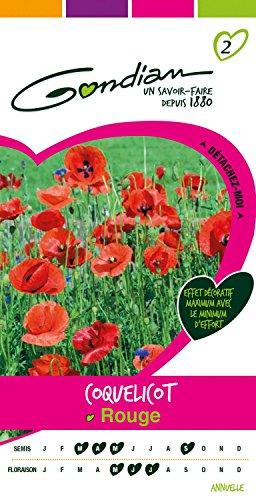 Gondian 511451 CP 2 Semences Coquelicot Rouge 1 x 8,1 x 16 cm