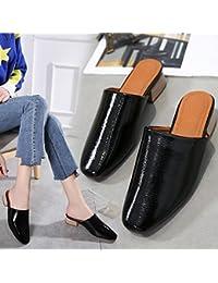 Qingchunhuangtang@ Baotou Zapatillas Sandalias Zapatos Gruesos,Thirty-Eight,Negro  Zapatos de moda en línea Obtenga el mejor descuento de venta caliente-Descuento más grande