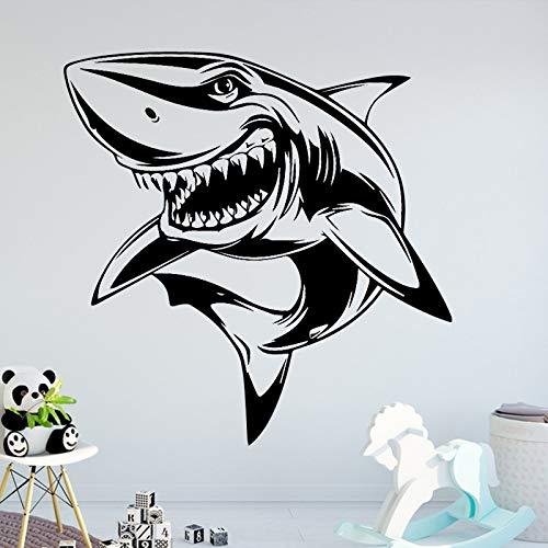 TYLPK Fierce Shark Wandaufkleber Vinyl Abnehmbare Wandaufkleber Kinder Wohnzimmer Schlafzimmer Raumdekoration Wandaufkleber blau 30X30 CM