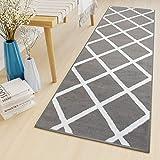 Tapiso Luxury Läufer Teppich Flur Korridor Kurzflor Brücke Designer Grau Weiss Karo Viereck Geometrisch Gitter Muster ÖKOTEX 120 x 80 cm