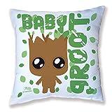 Cuscino decorazione Baby Groot (i guardiani della galassia) Chibi, kawaii e pastello by Fluffy Chamalow–Made in France–Chamalow Shop