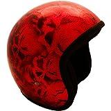 PI Wear Jet Super Flake Skulls Red sehr kleiner und schmaler Jethelm * auffälliges Design * keine ECE (S)