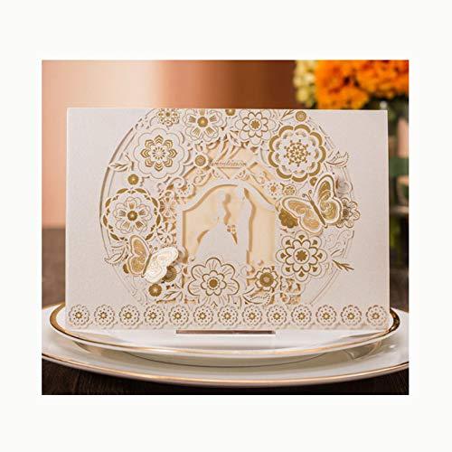 Personalisierte Hochzeitseinladungen - Bronzing Hohl Geprägte Schmetterling Druckbare Blankopapier Umschlag - Party Party Einladung (Packung Mit 50),White