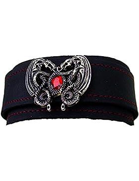 Wikel Lederarmband Dragonheart mit Rotem Swarovski-Kristal Leder Farbe schwarz