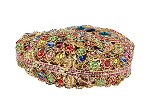 Yilongsheng femmes Hibou façonnées mariage Embrayage Sacs avec Bright-couleur Crystal multicolore 01