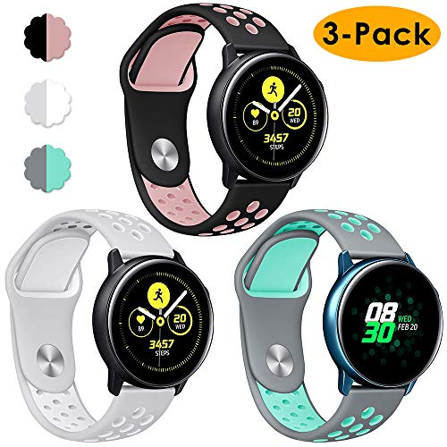 KIMILAR Armbänder Kompatibel mit Samsung Galaxy Watch 42mm / Galaxy Active Armband Silikon,(3 Stück) Sportlich Bands für Galaxy Active 40mm/Galaxy Watch 42mm/Gear Sport/Gear S2, Garmin Vivoactive 3 -