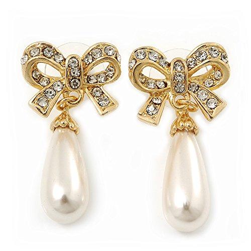 Con finta perla 'Bow'- Orecchini pendenti, placcati oro, lunghezza 4 cm